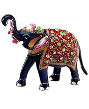 Handpainted Enamelled Metal Elephant (Multicolor)