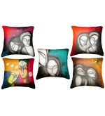 Belkado Digital Print-Set of 5 'Faces Paintings' Cushion Covers, multicolor