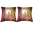 Belkado Digital Print-Pair of Sunset Painting Cushion Covers, multicolor
