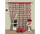 Rose Garden print curtains (Multicolor, Curtain(54 inch x 60 inch))