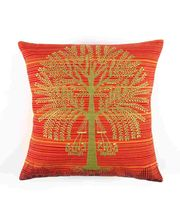 The Elephant Company Cushion Cover Orange Tree Warli, Orange