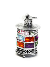 Rustic Silver Tone Metal Tea Light Holder With Color Stones, Multicolor