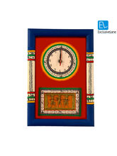ExclusiveLane Warli Handpainted & Dhokra Work Clock 15* 10 Inch Red, multicolor