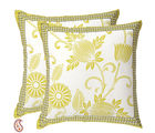 Chrysanthemum Design Pigment Print Pure Cotton Cushion Cover Set, multicolor