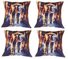 meSleep Cushion Covers Painted COUPLE in RAIN (Set of 4), multicolor