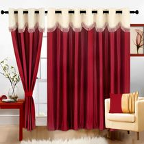 Cortina Fancy Crush 9Ft Curtain,  maroon