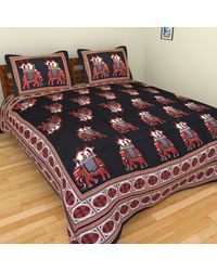 The Handicraft House Jaipuri Rajasthani Sanganeri Double Bedsheet with 2 Pillow Covers, multicolor