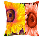 Leaf Designs Yellow & Orange Floral Cushion Cover