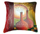 Belkado Digital Print Sunset Painting Cushion Cover, multicolor