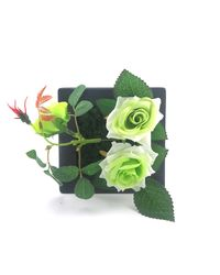 Importwala Artificial Rose Flowers Plastic Photo Frame Wall Decoration,  green