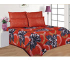 Beautiful Gold Print Double Bed sheet G-80A, meroon