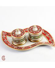 Leaf Design Marble Tray And Utility Containers With Kundan Work, Multicolor