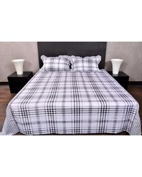 Banana Prints Tulip Checks Bedsheets,  white