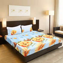 Valtellina Sky Blue Tulip & Buterfl Print Double Bed Sheet,  blue