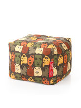 Style Homez Square Cotton Canvas Abstract Printed Bean Bag Ottoman L Size with Fillers, l