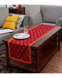 Rang Desi Red Cotton Ethnic 72 x 14 Inch Table Linen,  red