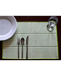 Rope Premium Talipot Table Mats - Green - Set Of Six, green