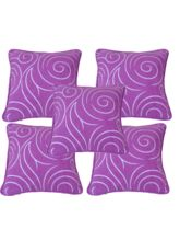 Me Sleep Set Of 5 Suede With Designer Print Cushion Covers CSPM-10, Multicolor