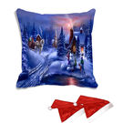 meSleep Merry Christmas Town Digitally Printed Cushion Cover (16x16) - With 2 Pcs,  blue