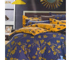 Aapno Rajasthan Beautiful Cotton Double Bedsheet with Leaf Print, multicolor