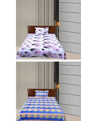 Freely Combo Of 2 Cotton Single Bed Sheets With 2 Pillow Covers, multicolor