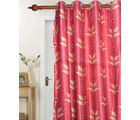 Handloomwala Red leaves door curtain (Red)