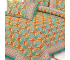 Pure Cotton Double Bed Sheet Set with Mughal Gold Print, multicolor