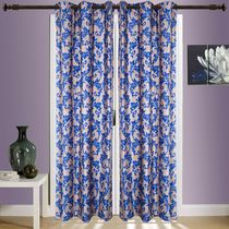 SWHF Printed Curtain Set of 2 Floral,  blue