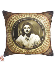 Rani Gayaithri Devi Digital Print Poly Velvet Cushion Covers, Brown