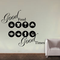 Creative Width Good Food Good Times Wall Decal, multicolor, large