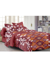 Story@ Home Brown 100% Cotton Candy 1 Double Bedsheet With 2 Pillow Cover-CN1232, brown