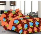 Welhouse India Floral Double Bed Sheet With 2 Pillow Covers, brown
