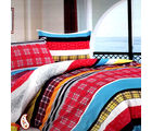 Modern Plaid And Striper Print Pure Cotton Bed Sheet Set BS139119, multicolor