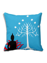 MeSleep Saint Tree Blue Cushion Cover (16x16), Blu...