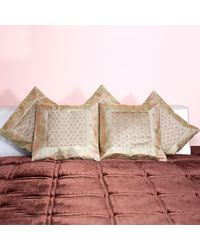Rivayat Banarasi Hand Made Silk King Size Cushion Cover (set of 5), golden cream