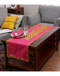 Rang Desi Pink Cotton Ethnic Table Linen Set,  pink
