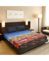 Valtellina Red color city Bus Print Double Bedsheet,  red