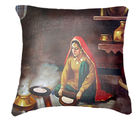Belkado Digital Print Indian Woman I Cushion Cover, multicolor