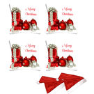 meSleep Set of 4 Merry Christmas Digitally Printed Cushion Cover (16x16) -With Free 2 Pcs,  white
