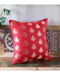 Rang Desi Double Sided Red-Blue Brocade Cushion Cover - Set of 1,  pink