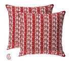 Red and Orange Floral Striper Pigment Print Cotton Cushion Cover Set, multicolor