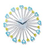Zeeshaan Blue Yellow Heart Wall Clock, multicolor