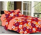 Welhouse India Floral Double Bed Sheet With 2 Pillow Covers, orange