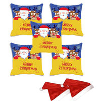 meSleep Set of 5 Merry Christmas Digitally Printed Cushion Cover (16x16) -With 2 Pcs, multicolor