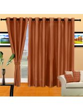Cortina Plain Crush 5Ft Curtain, Coffee