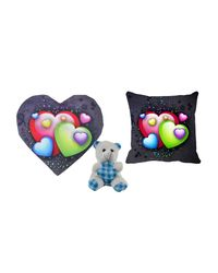 meSleep Multi Valentine Heart Shape Cushion, Teddy and Cushion,  black