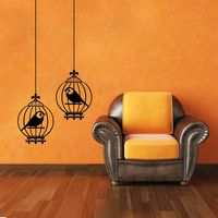 Creative Width Birds In Cage Wall Decal, multicolor, large