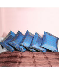 Rivayat Banarasi Hand Made Silk King Size Cushion Cover (set of 5), peacock blue