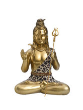 Fine Gold Finish Lord Shiva Idol Showpiece, Gold