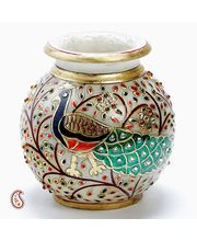 Hand Painted Peacock Marble Pot With Gold Paint And Kundan Work, Multicolor